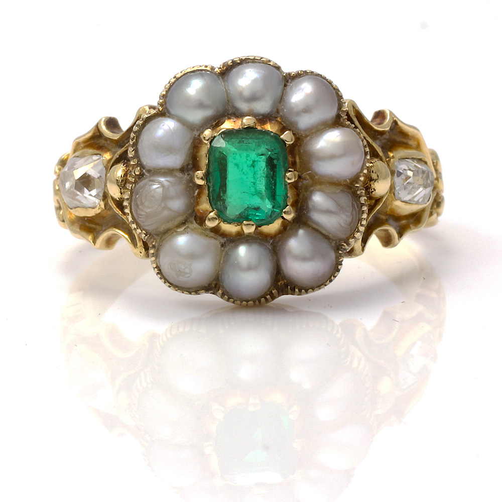 pearl adorable unexpectedly ring antique emerald natural georgian rings products mourning an period engagement